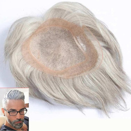 White Straight Mono Top PU Perimeter and Lace Front Mens Toupees