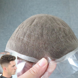 German Net with PU and 1/4 Inch Folded Net Front Human Hair Wigs for Men