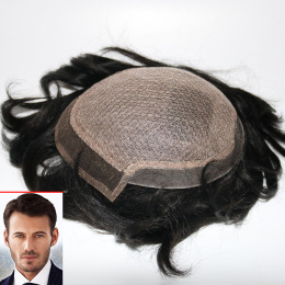 Silk Mono Top PU Sides and Back Lace Front Quality Mens Hair Systems