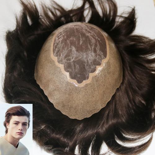 Fine Mono PU Around Hair System Men'S Toupee