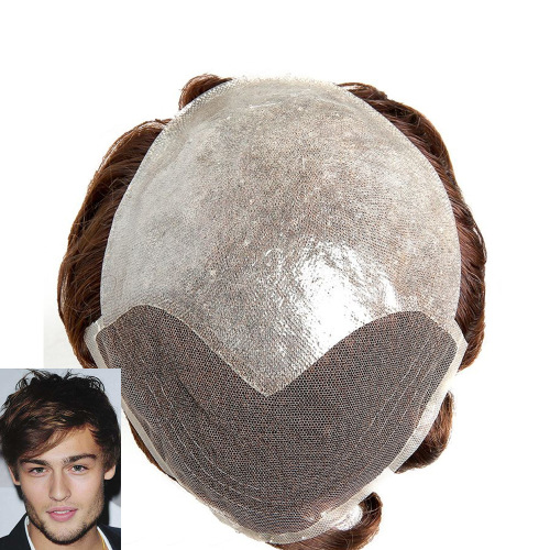 100% Human Hair Thin Skin Base With French Lace Front Toupee