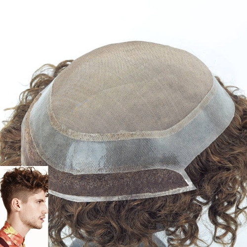 Dark Blonde Afro Culy  Mono Top PU Perimeter and Lace Front Mens Toupees