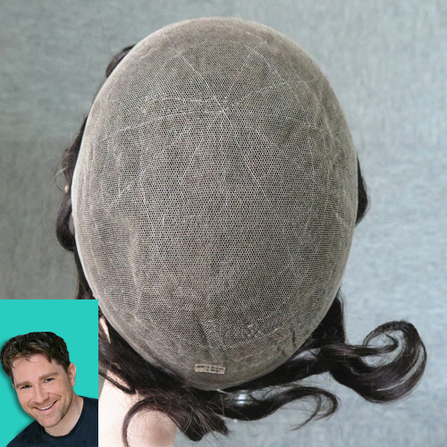 Full French Lace Medium Density Customized Mens Hair Replacement