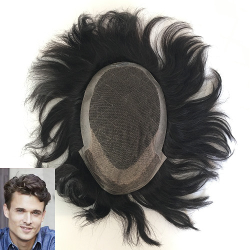"""French Lace with 2"""" PU Back and Sides Double Layer Lace Front Men's Hair Wig Systems"""