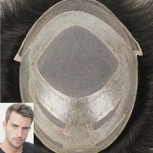 Fine Mono with Thin Skin and Lace Front Customized Mens Hair Systems